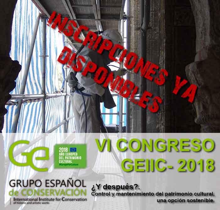 IV Congreso GEIIC 2018. ¿Y después? Control y mantenimiento del patrimonio cultural, una opción sostenible.