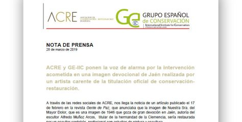 Imagen devocional Jaén. Denuncia intervención de  Nuestra Sra. del Mayor Dolor, imagen de 1946