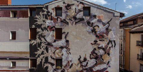 El mural de Gonzalo Borondo en Vitoria, dos registros superpuestos: lo efímero frente a lo perdurable
