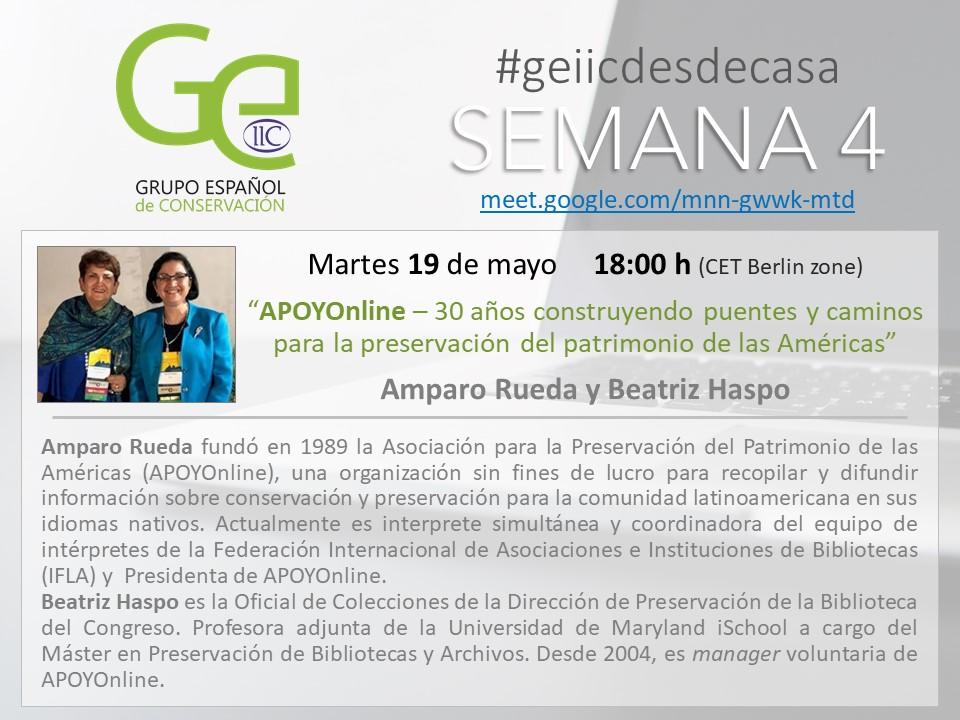 GEIIC desde casa APOYOnline Amparo Rueda y Beatriz Haspo